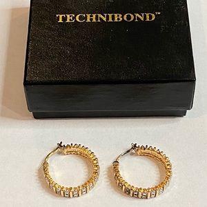 Technibond Yellow Gold Rhinestone Hoop Earrings
